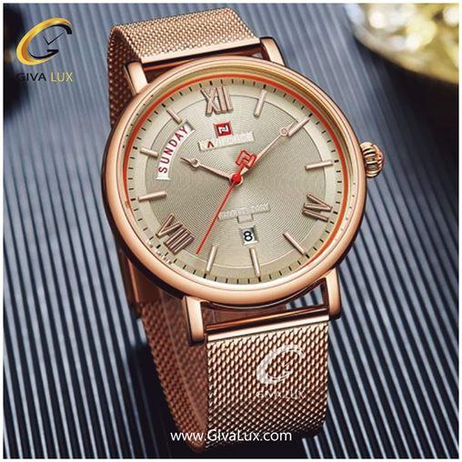 عکس رسمی ساعت مردانه بند حصیری فلزی نوی فورس مدل nf۳۰۰۶m