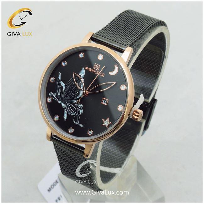 ساعت زنانه صفحه پروانه دار مشکی بند حصیری ناوی فورس مدل NF5011