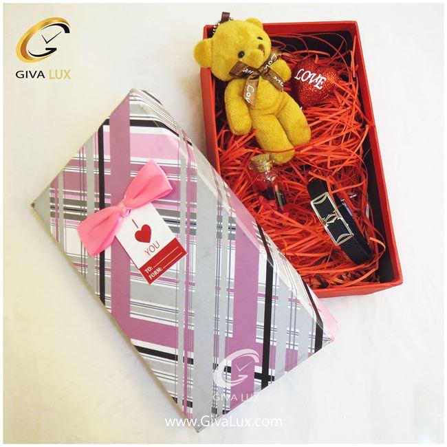 پک کادویی شامل قلب شیشه تزئینی خرس زرو دستبند اسپرت جعبه