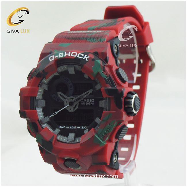 ساعت مچی اسپرت کاسیو جیشاک G-shock دو زمانه چریکی قرمز