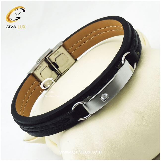 دستبند چرمی و قاب استیل