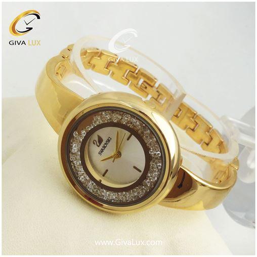 ساعت زنانه سواروسکی بند فلزی(طلایی) کد 11358
