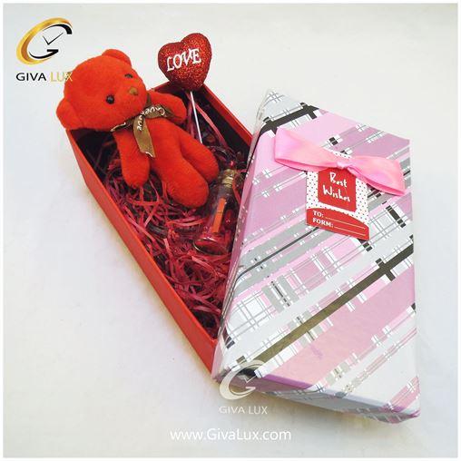 پک کادویی شامل جعبه خرس قرمز قلب  شیشه تزئینی