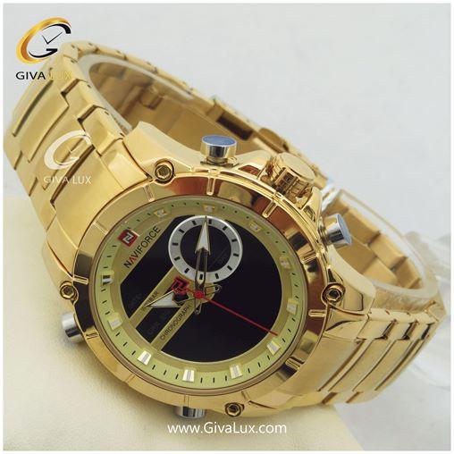 ساعت مردانه دوزمانه طلایی ناوی فورس مدل NF9163