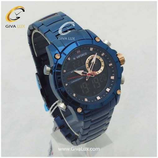 ساعت مردانه دوزمانه سورمه ای ناوی فورس مدل NF9163