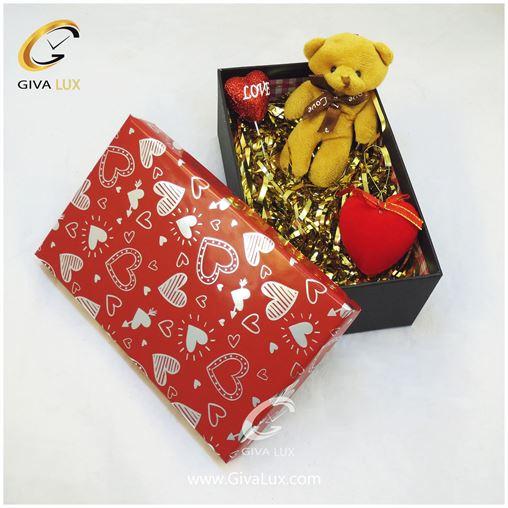 پک کادویی شامل خرس قلب  جعبه