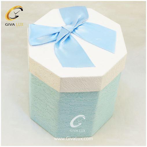 جعبه کادویی  8 ضلعی بند دار آبی