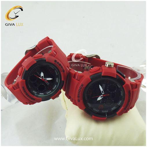 ست ساعت مردانه و زنانه جی شاک دو زمانه رنگ قرمز