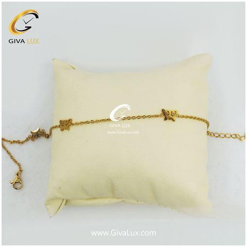 پابند زنانه طلایی طرح پروانه