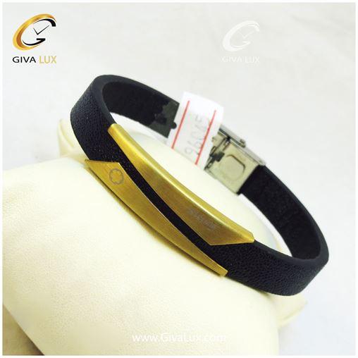 دستبند چرم طلایی مردانه