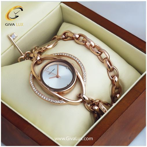 ساعت زنانه کلوین کلین بند فلزی(دو دور بند  دستبندی)